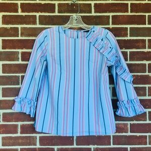 Halogen Sz XS Blue Striped Ruffle Blouse